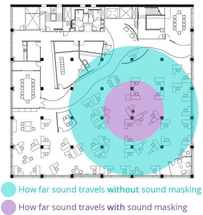 sound masking zone of distraction